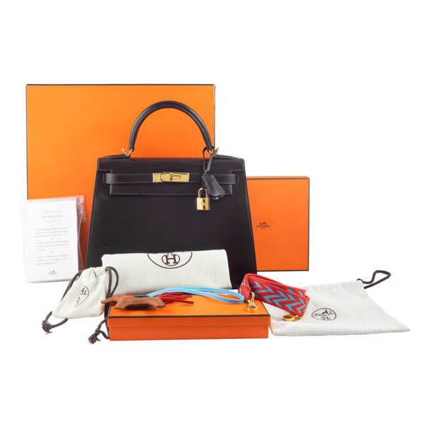 Hermes Brown Box Calf Kelly 28
