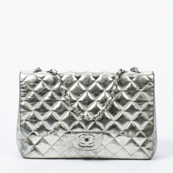 Chanel Silver Jumbo Flap Bag